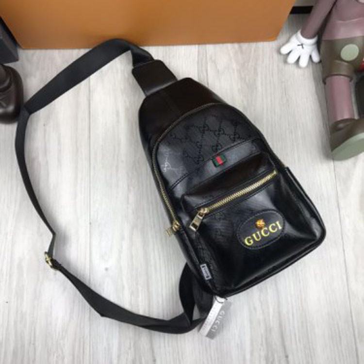 30a7cb711458 Модная мужская сумка бананка Gucci черная слинг через плечо кожа PU унисекс  гуччи качественная люкс реплика