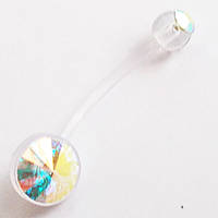 Сережка в пупок для вагітних (довжина штанги 20 мм) з кольоровими кристалами. Прозорий биофлекс., фото 1