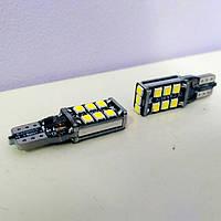 🚘 Лампа светодиодная LED 12V T10 (W5W) 15SMD +обманка 500Lm (БЕЛЫЙ) - 2шт 💎💎, фото 1