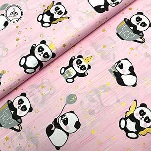 """Польская хлопковая ткань """"панды с золотыми звездами (глиттер) на розовом"""", фото 2"""
