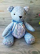 Мягкая игрушка мишка голубой горошек №7 ручная работа hand made