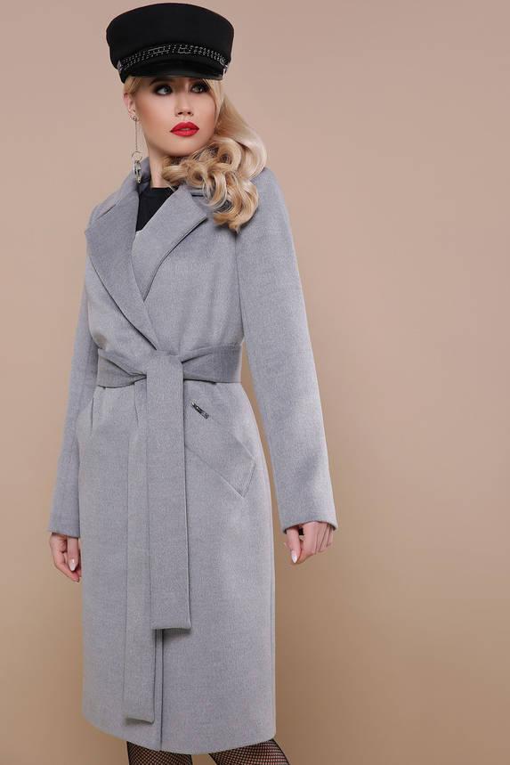 Классическое шерстяное пальто весна осень серое , фото 2