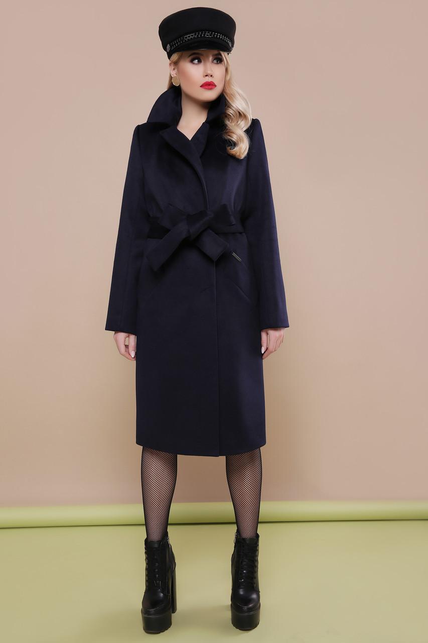 Классическое шерстяное пальто весна осень синее