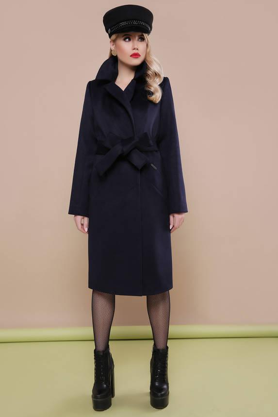 Классическое шерстяное пальто весна осень синее , фото 2