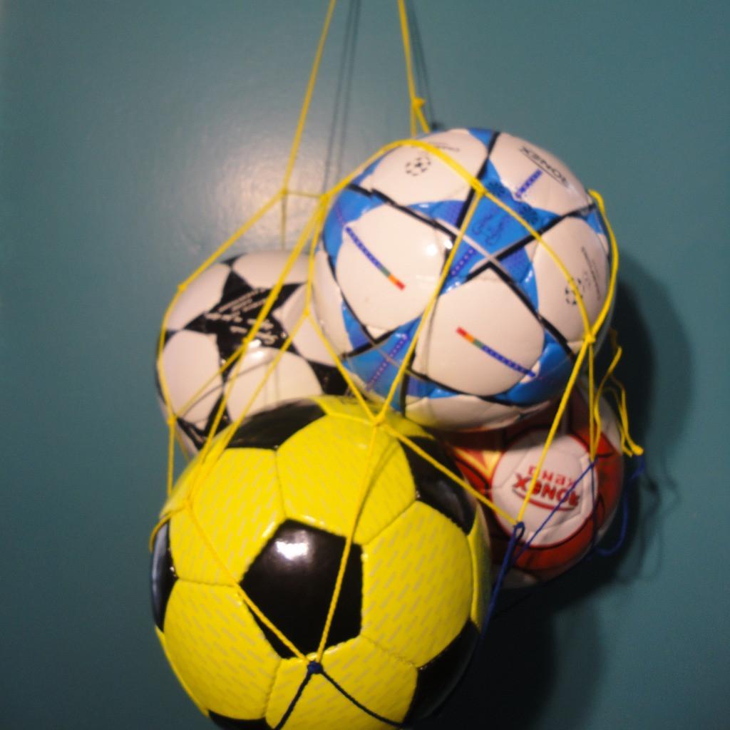 "Сетка для переноски мячей ""ЭКОНОМ"", на 5 мячей, шнур Д - 2,5 мм желто-синяя"