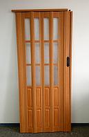 Дверь гармошка  полуостекленная 1020х2030х10мм ВИШНЯ № 501, фото 1