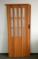 Дверь гармошка  полуостекленная 1020х2030х10мм ВИШНЯ № 501