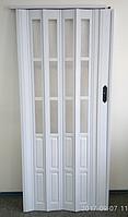 Дверь гармошка  полуостекленная 1020х2030х10мм ЯСЕНЬ белый №610