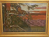 """Картина вышитая """"Закат в лесу"""" 1966 г."""