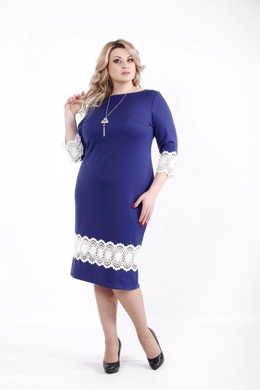 Простое лаконичное деловое повседневное трикотажное платье размеры: 42-74