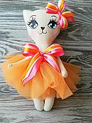 Игрушка кошка в оранжевом платье  ручная работа hand made