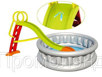 Детская горка MOCHTOYS 1.8 м + бассейн  157см х 43 см
