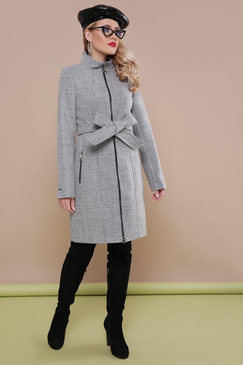 Красивое женское весеннее шерстяное пальто на молнии