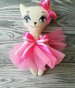 Игрушка кошка в розовом платье  ручная работа hand made