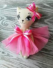 Игрушка кошка в розовом платье  ручная работа hand made, фото 3