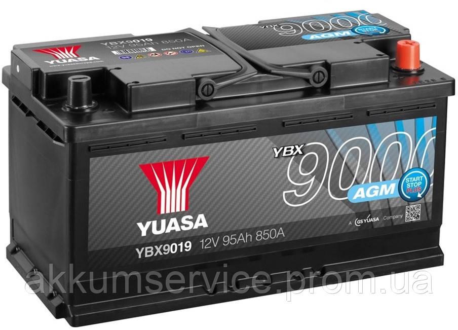 Аккумулятор автомобильный Yuasa AGM 95AH R+ 850А YBX9019