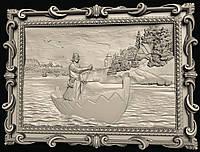 Картина резная Мужик в лодке