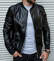 Куртка кожаная мужская весенняя / осенняя / черная
