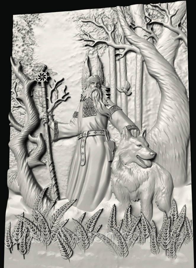 Панно картина резная Белобог — славянский Бог света