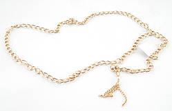 Красивый женский поясок цепочка золотистого цвета (102966)