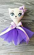 Игрушка кошка в фиолетовом платье  ручная работа hand made