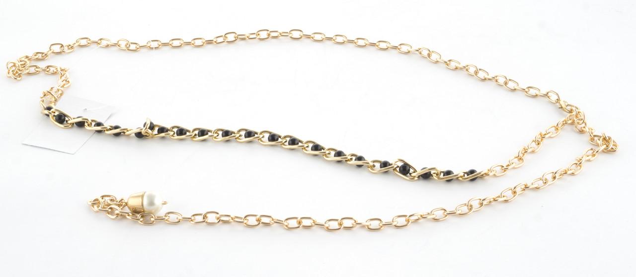 Красивый женский поясок цепочка с черными бусинками под жемчуг в цепи (103409)