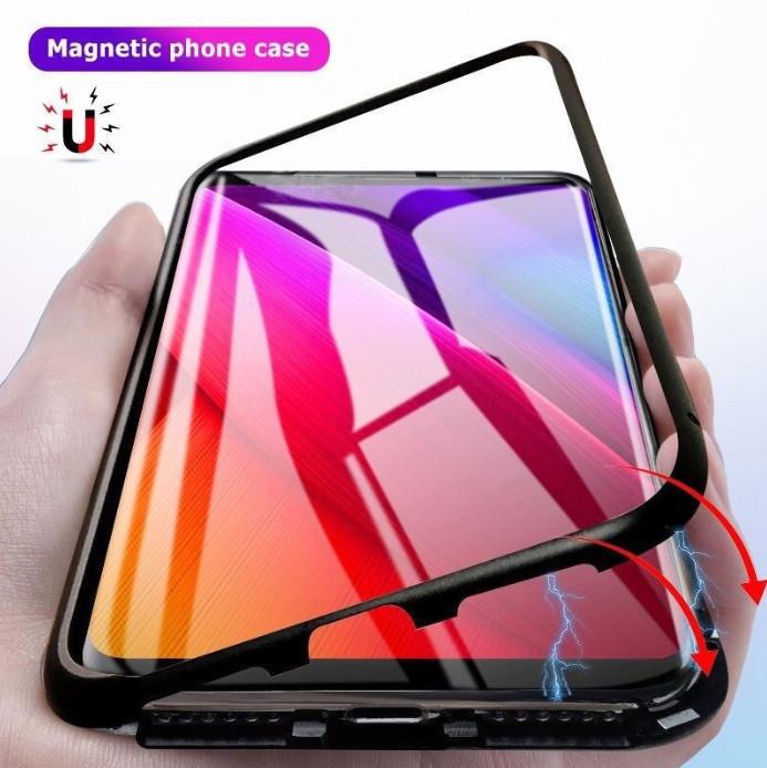 Магнитный чехол со стеклянной задней панелью для Huawei P20 Lite