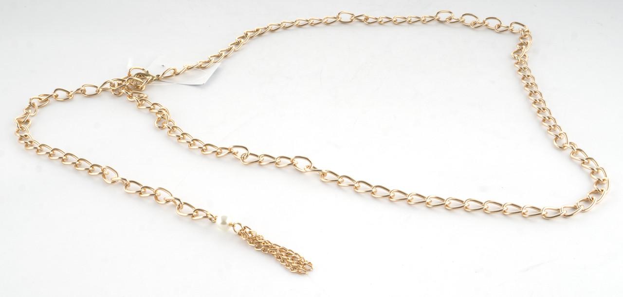 Красивый женский поясок цепочка золотистого цвета (103447)