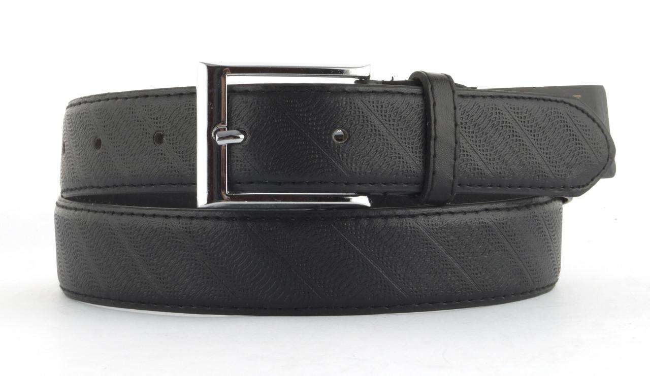 Мужской классический ремень из качественного заменителя кожи 3.5 см (103415) черный