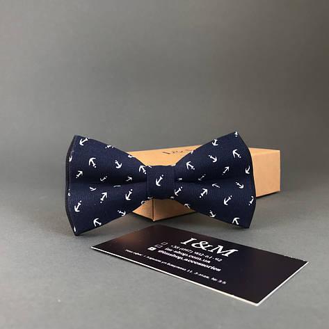 Галстук-бабочка I&M Craft синий с якорями (010249), фото 2