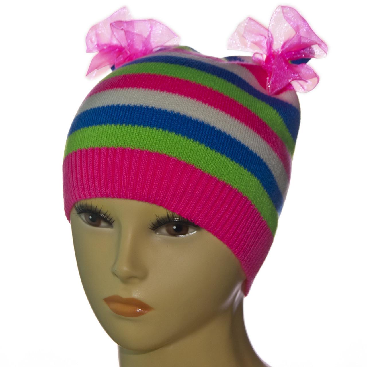Детская демисезонная шапка с бантиками