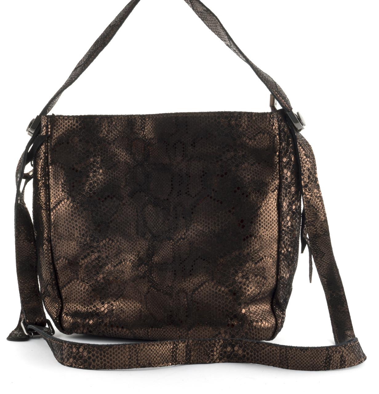ed70c9094f50 Стильная женская мягкая сумка из натуральной кожи с лазерной обработкой  PRINCESSA art. 7592 золотистая
