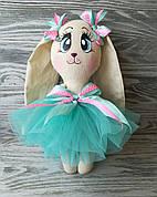 Игрушка зайчик в платье цвета мяты ручная работа hand made