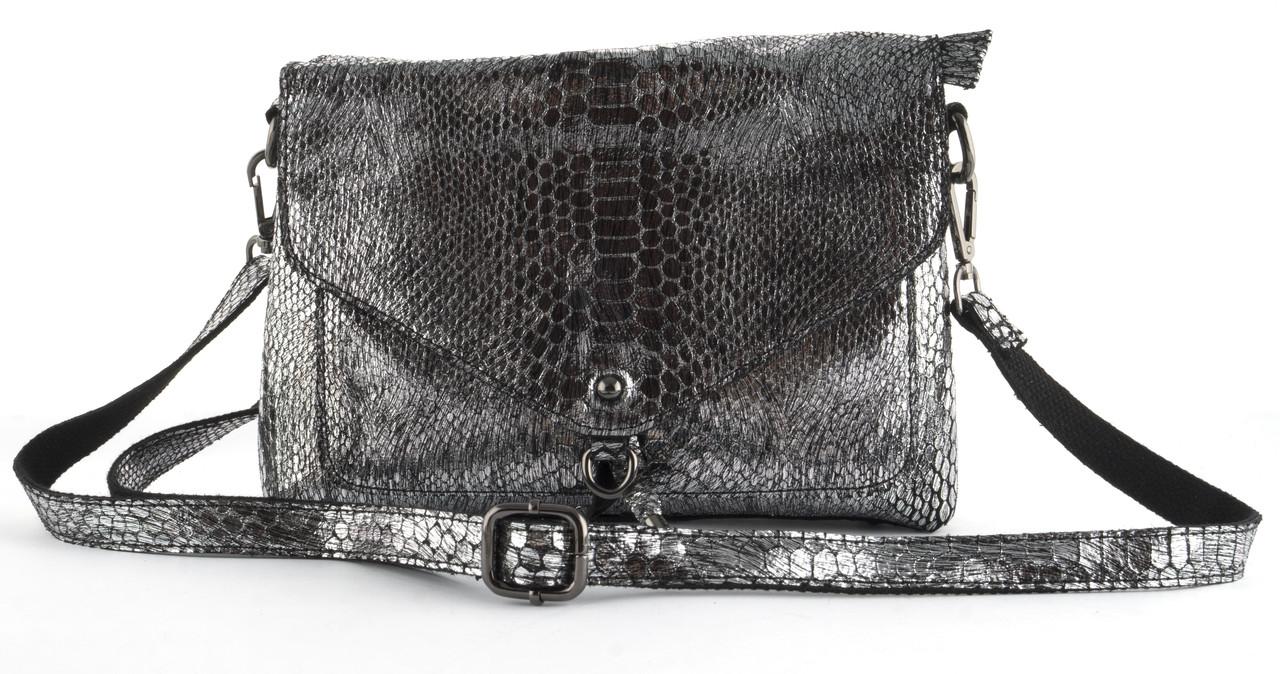 84fbb89e0b8a Стильная женская мягкая сумка из натуральной кожи с лазерной обработкой  PRINCESSA art. 3055 серебро