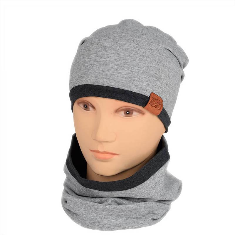 Трикотажный набор Шапка+Снуд для мальчика светло-серый