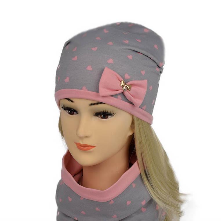 Трикотажный двухслойный набор для девочки розово-серый принт