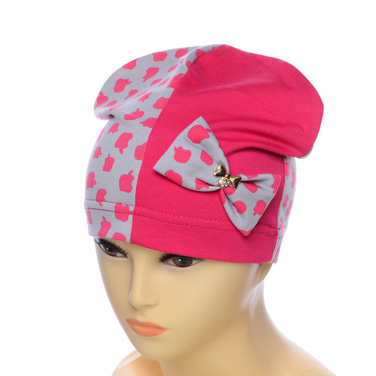 Трикотажная шапка с бантом