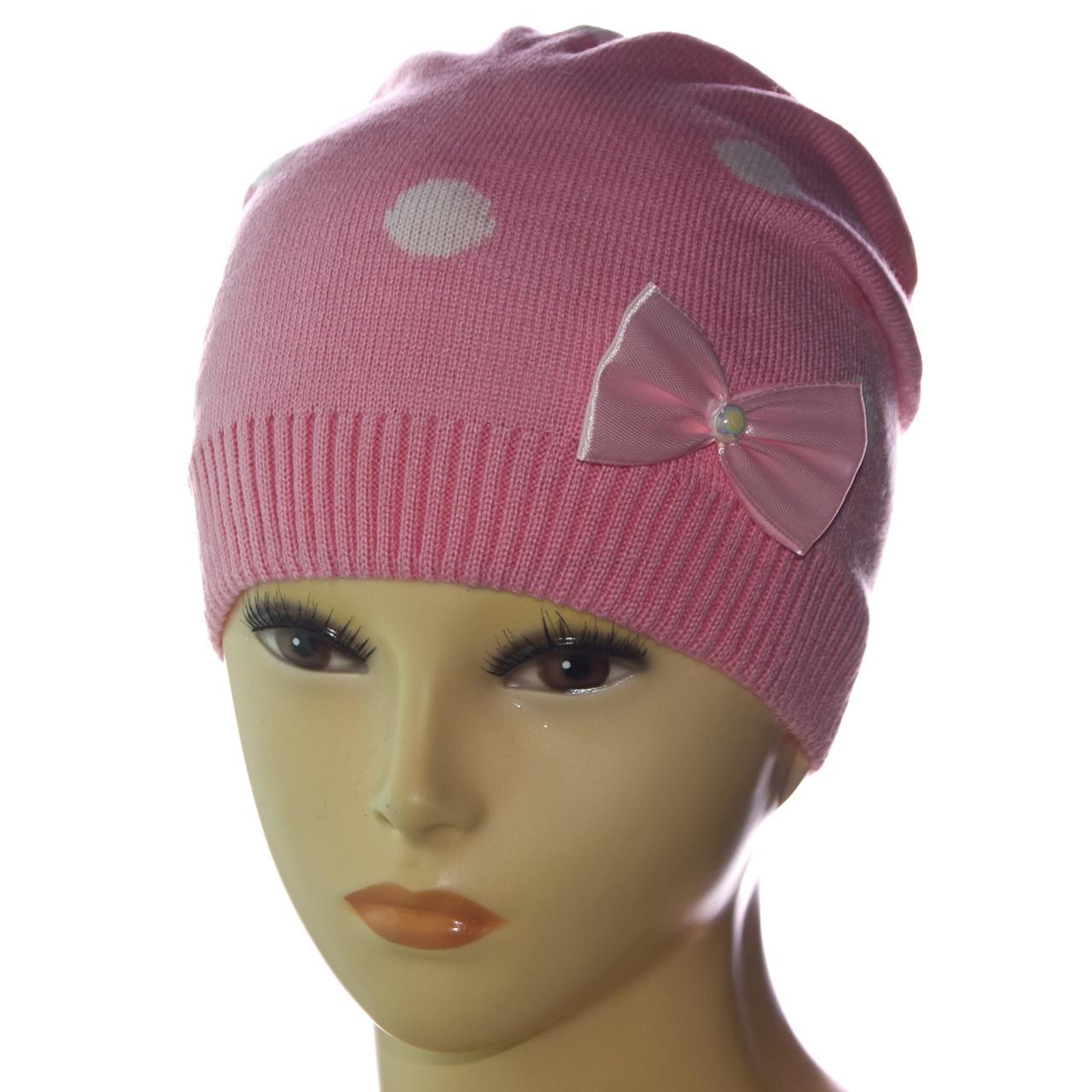 """Вязаная шапка для девочки """"Горохи"""""""