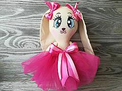 Игрушка зайчик в розовом платье  ручная работа hand made