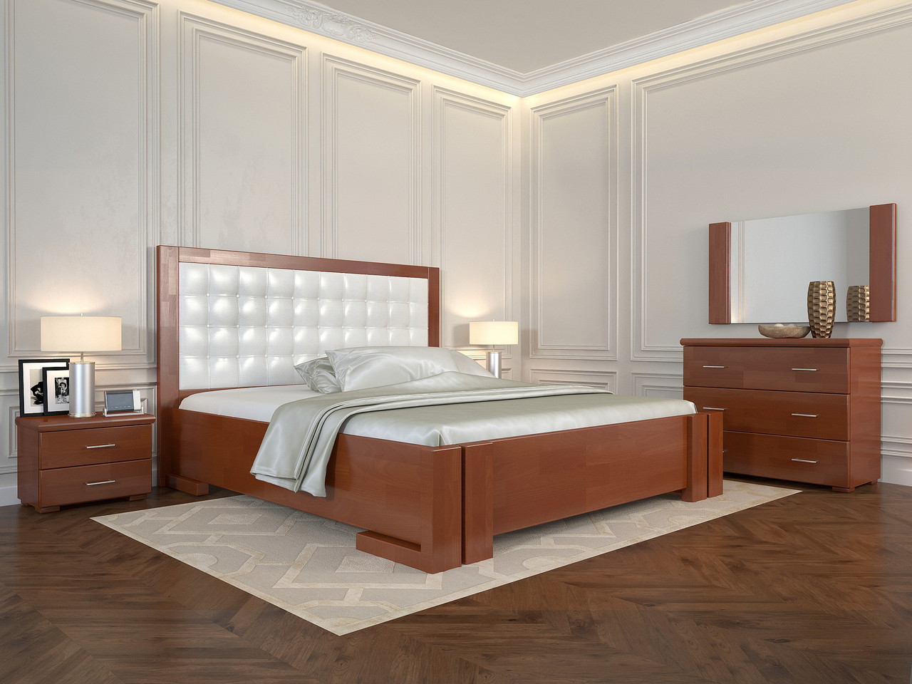 Кровать Arbordrev Амбер квадраты без ПМ (120*200) бук