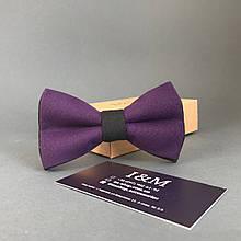 Галстук-бабочка I&M Craft двухцветный фиолетовый с черным (010610)