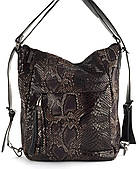 Объемная вместительная женская сумка-рюкзак PRINCESSA art. 1283 рептилия