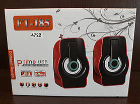 Колонки компьютерные FT-185 Динамики с подсветкой для ПК Акустика Красный, фото 3