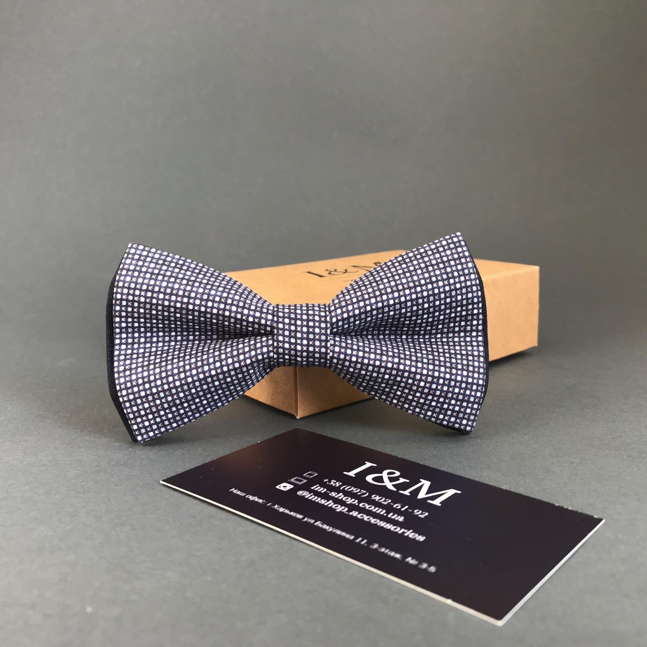 Краватка-метелик I&M Craft темно-синій в дрібну клітку (010419)