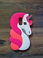 Объемный 3d чехол для Xiaomi Redmi 5 Единорог розовый