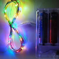 """Гирлянда """"Нитка"""" на батарейках уличная RGRB разноцветная с мерцанием 2м (20 led) тонкий серебристый провод-ОПТ"""