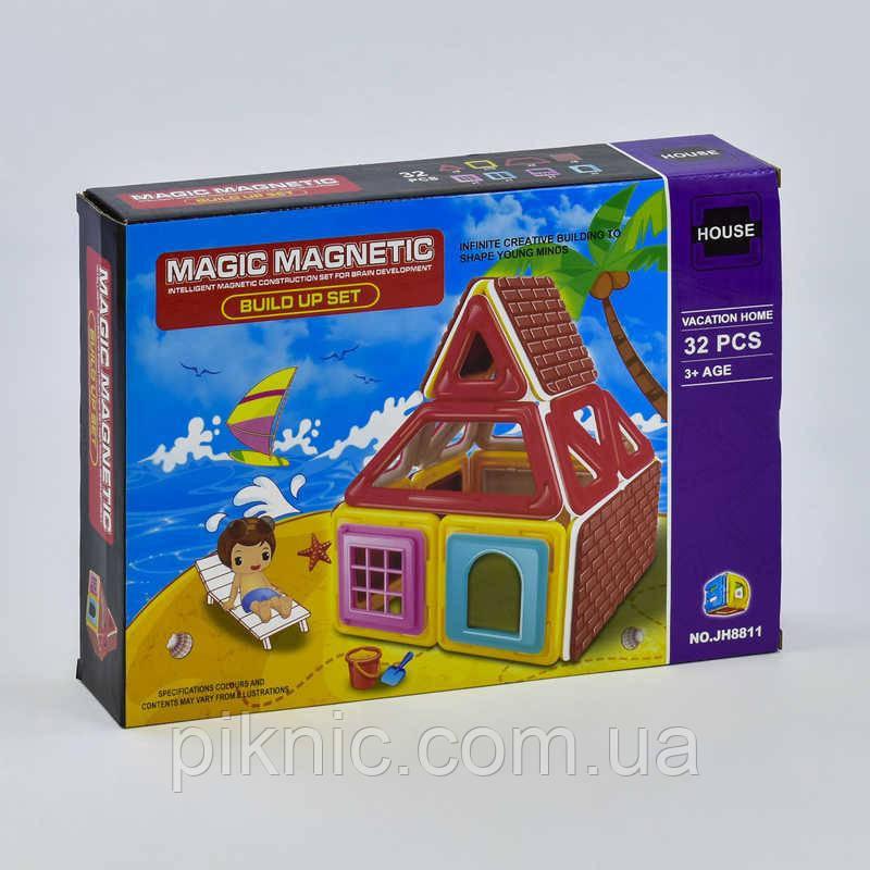 Конструктор магнитный Домик, 32 детали. Детский игровой набор