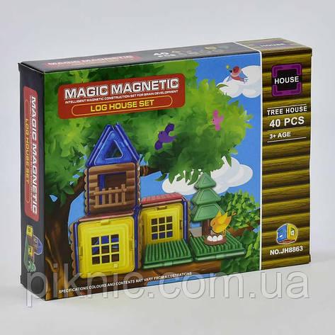 Конструктор магнитный Домик на дереве, 40 деталей. Детский игровой набор, фото 2