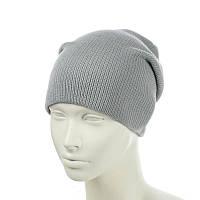 Вязаная шапка-чулок светло-серый