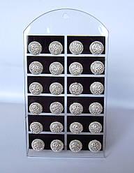 Серьги гвоздик монетка в камнях